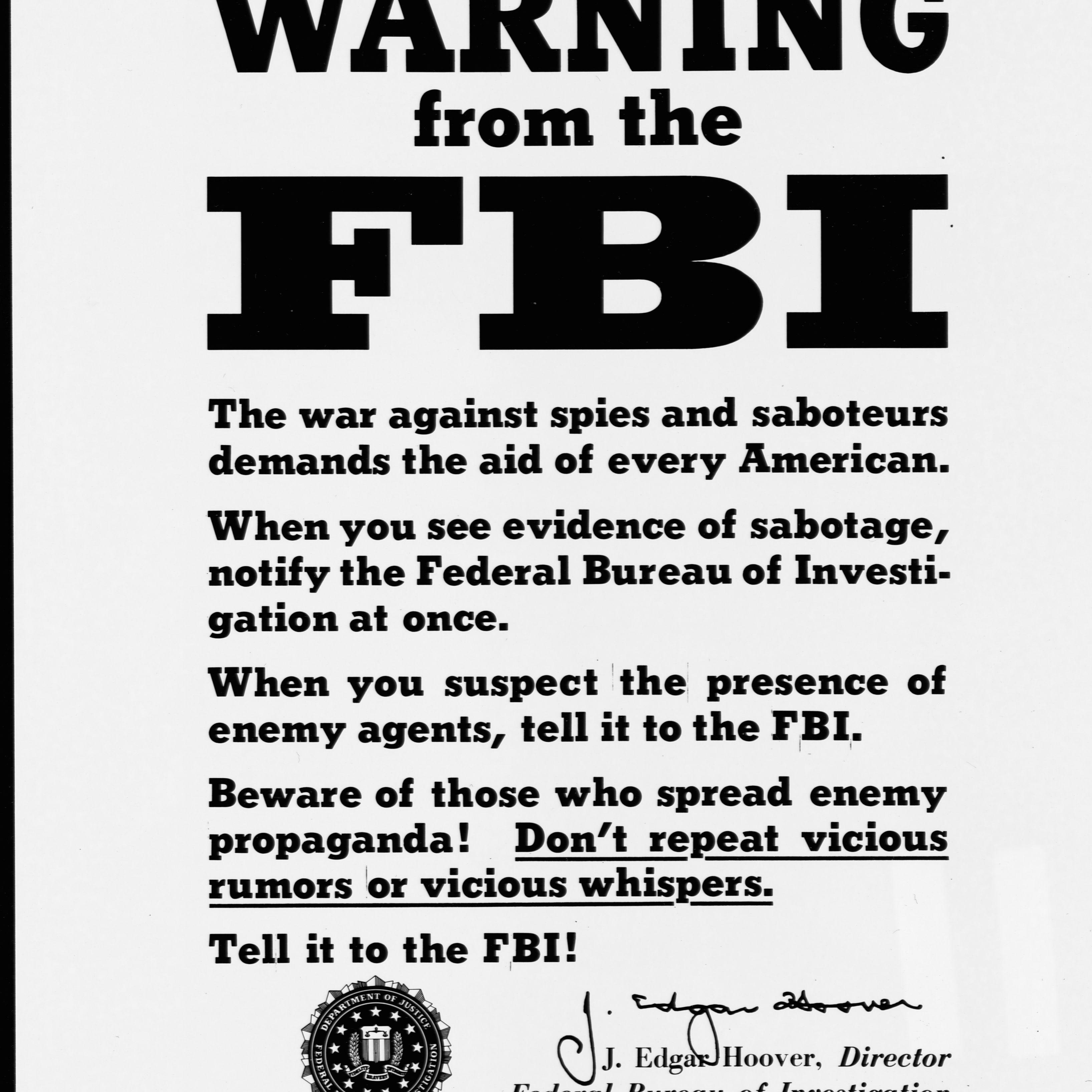 FBI Poster Warning Against Espionage