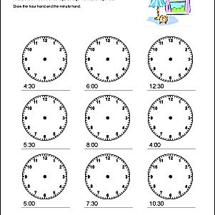 clock hands math worksheet