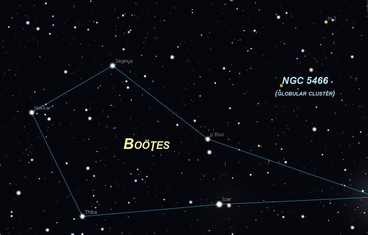 Boötes globular cluster chart