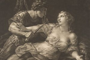 Pencil sketch showing the rape of Lucretia.