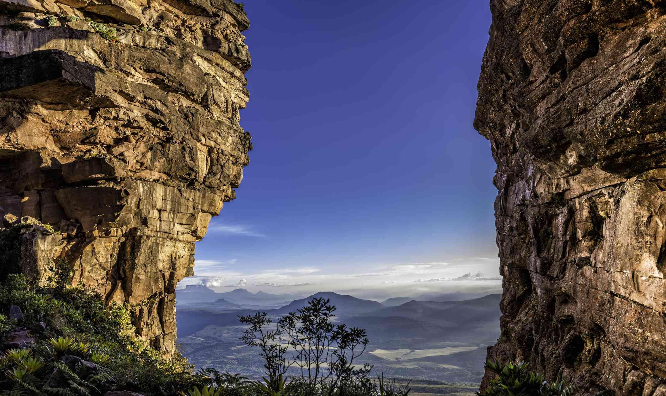 Kamata Valley seen through The Window, near the summit of the Auyan Tepuy, Gran Sabana, Venezuela