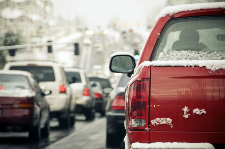 Snow on the road causing traffic