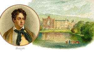 Lord Byron - portrait with his ancestral home