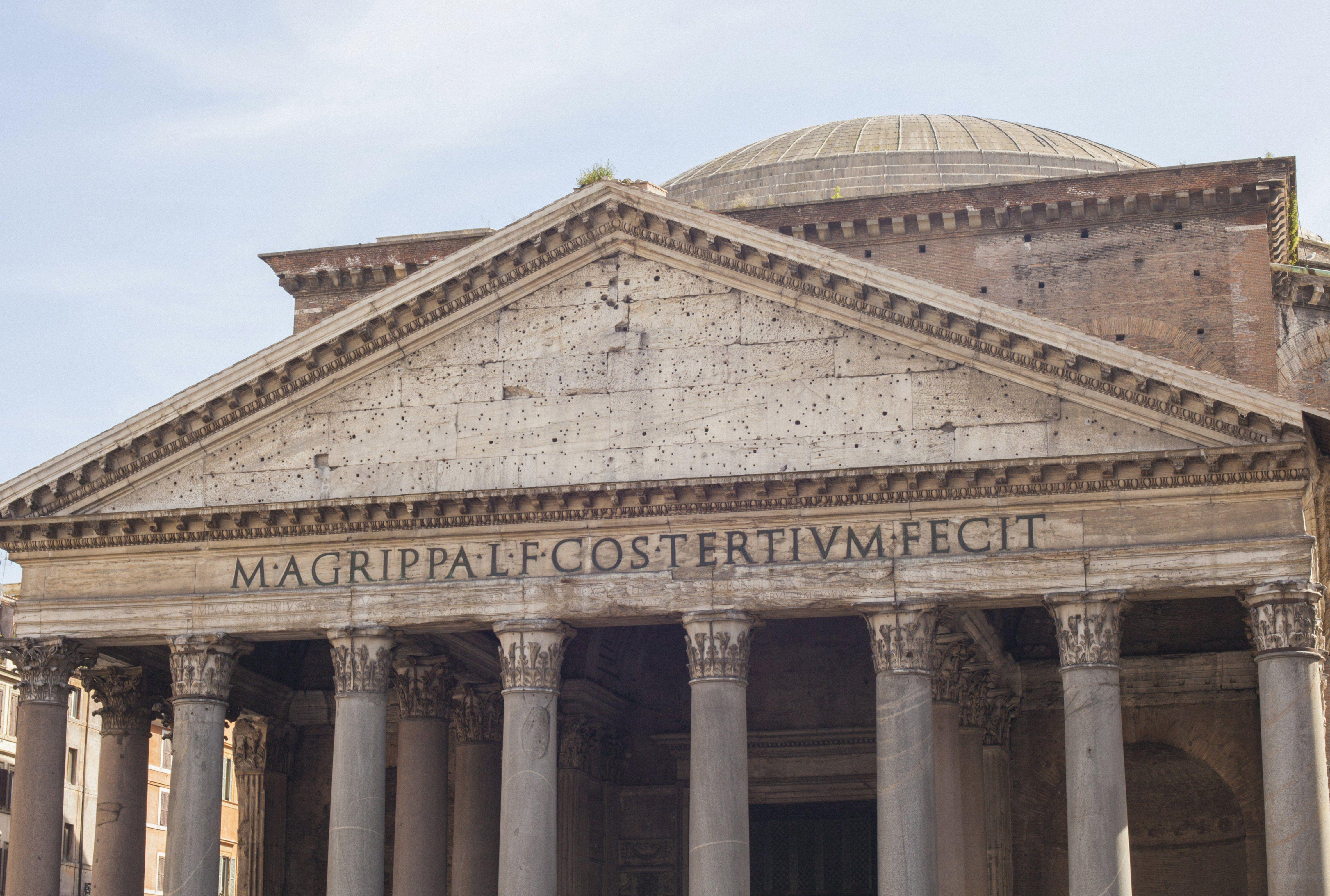 M. AGRIPPA L. F. COS. TERTIUM FECIT carved below a large pediment