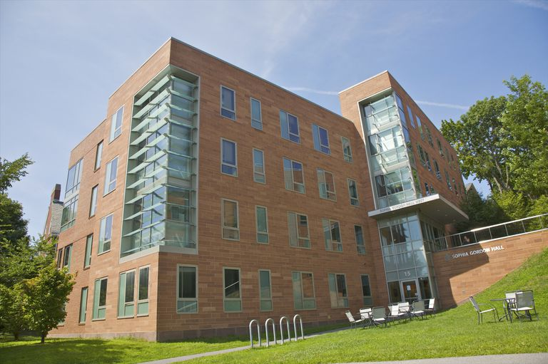 Exterior of Sophia Gordon Hall, Tufts University, Medford, Massachusetts, New England, USA.