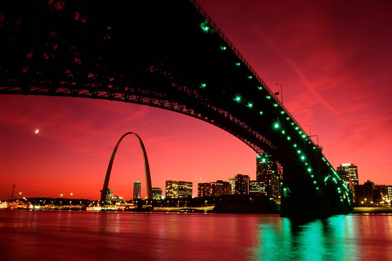 St. Louis Arch Beyond Eads Bridge at Sunset