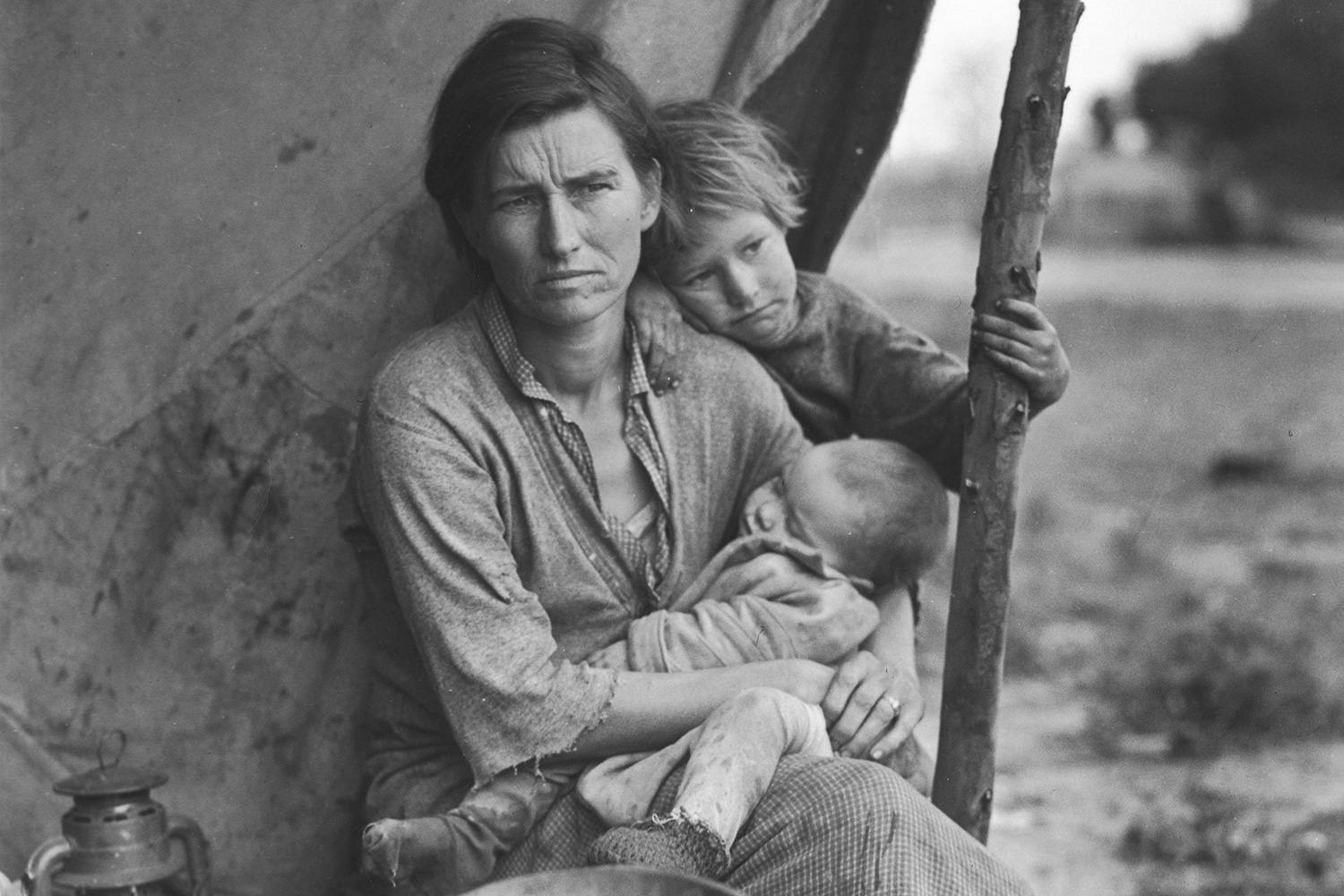 The struggling mother of a migrant family at a temporary camp in California during the Great Depression