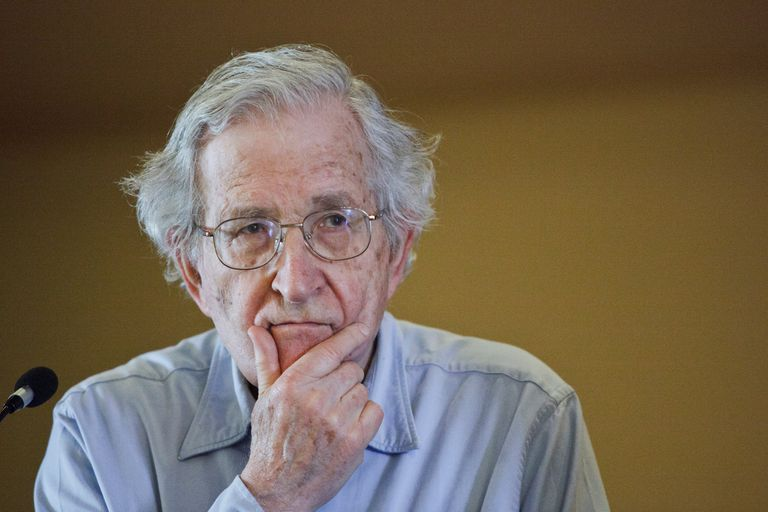 Noam Chomsky close up, full color photograph.
