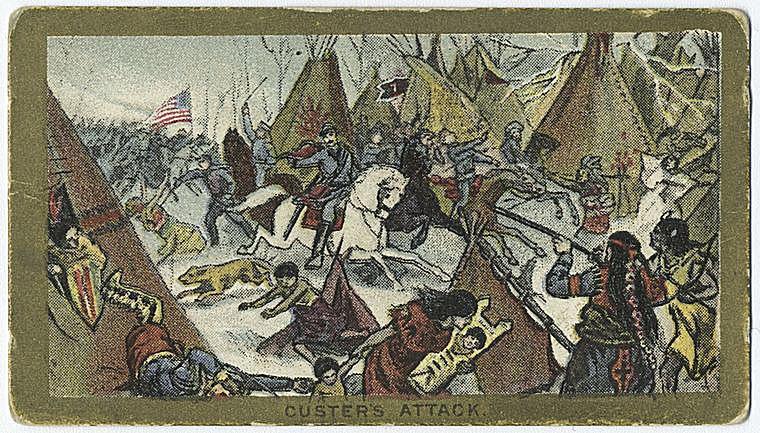 Custer's Attack on a Cigarette Card