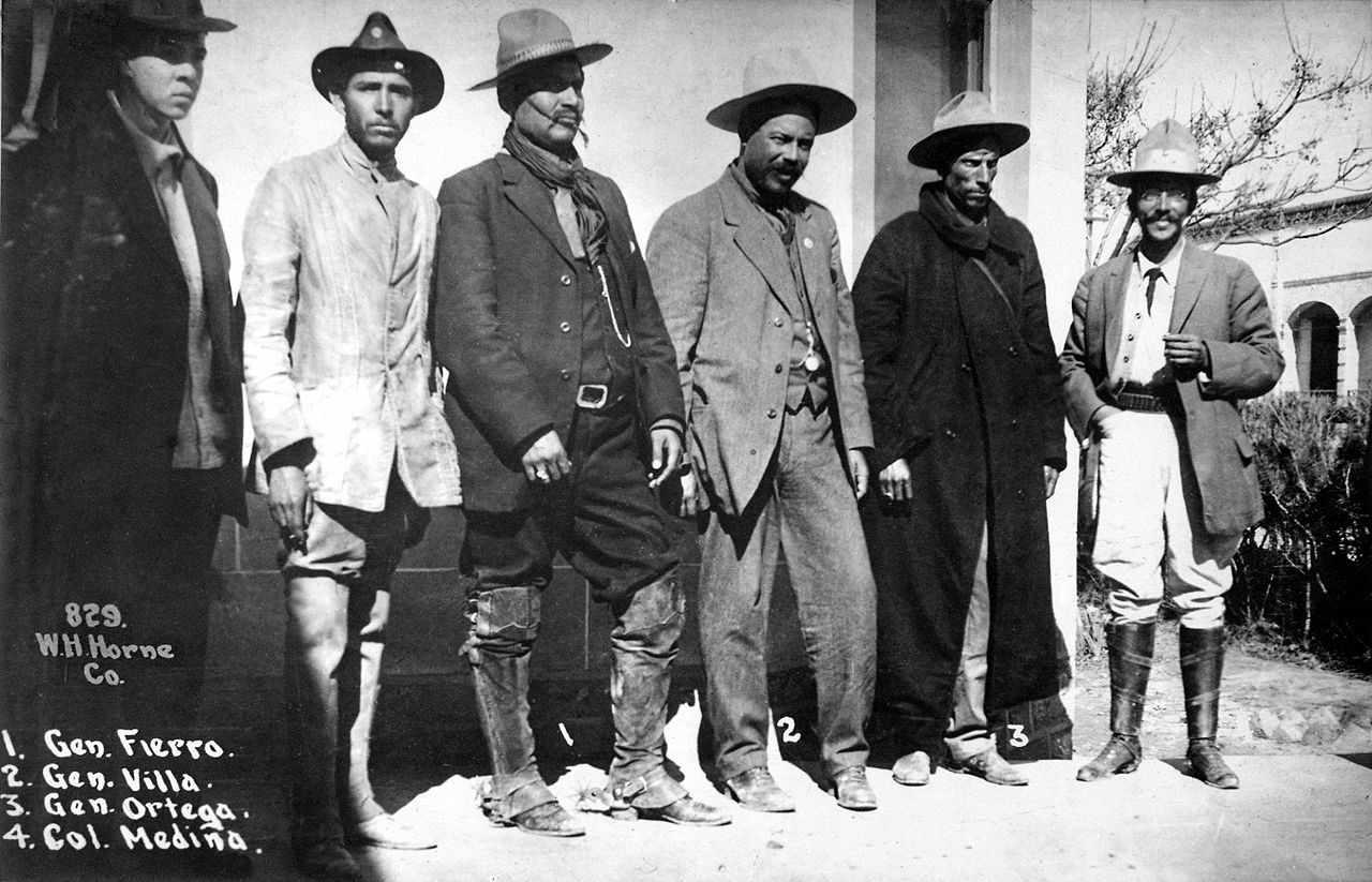 Mexican revolutionaries General Rodolfo Fierro, Pancho Villa, General Toribio Ortega and Colonel Juan Medina.