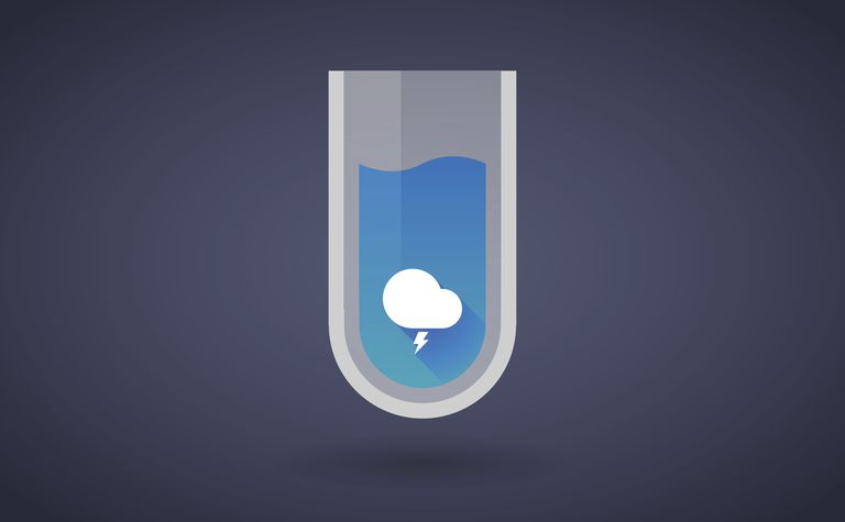 Blue chemical test tube icon with a stormy cloud