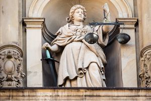 Justitia as Blind Justice, the Sievekingsplatz, Hamburg