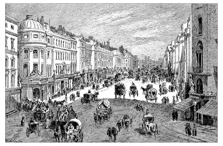 Illustration of London, Regent street, ca 1900