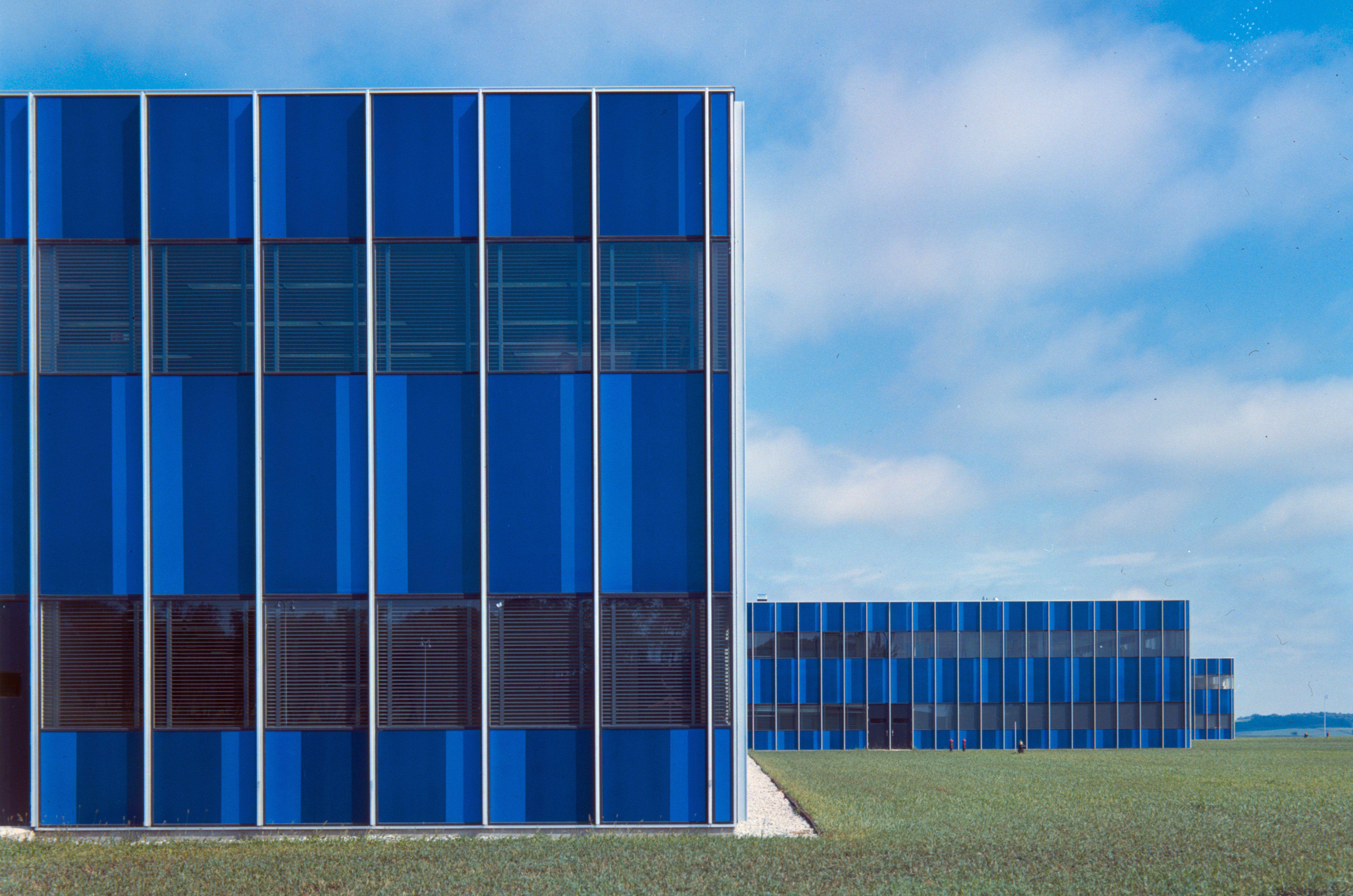 blue-tinted windows of Eero Saarinen-Designed IBM Center, Rochester, Minnesota, c. 1957