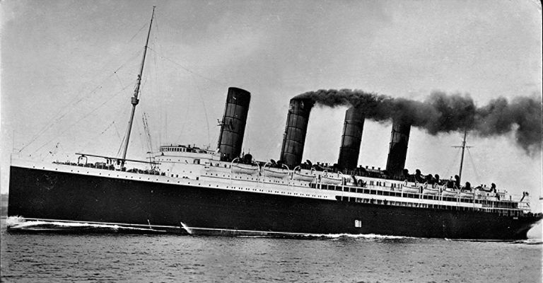 Postcard image of the Lusitania, a passenger liner which was sunk by German U-Boats during World War I.