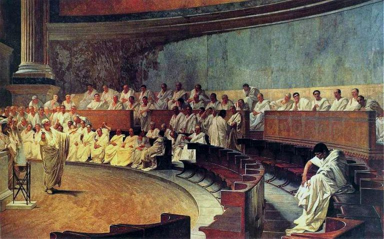 Representation of a sitting of the Roman Senate: Cicero attacks Catilina, from a 19th-century fresco.