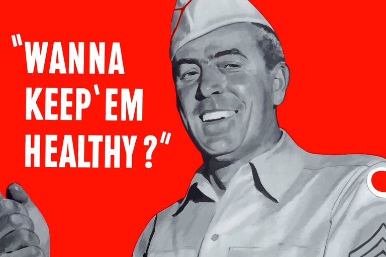 "Poster showing military man cooking and the words: ""WANNA KEEP 'EM HEALTHY?"""