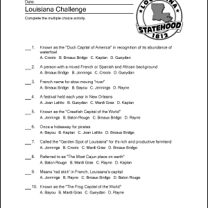 Louisiana Worksheet