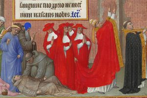 Illustration of penitents fall victim to the plague during a processional led by Pope Gregory I. From Folio 72 of Les Très Riches Heures du Duc de Berry