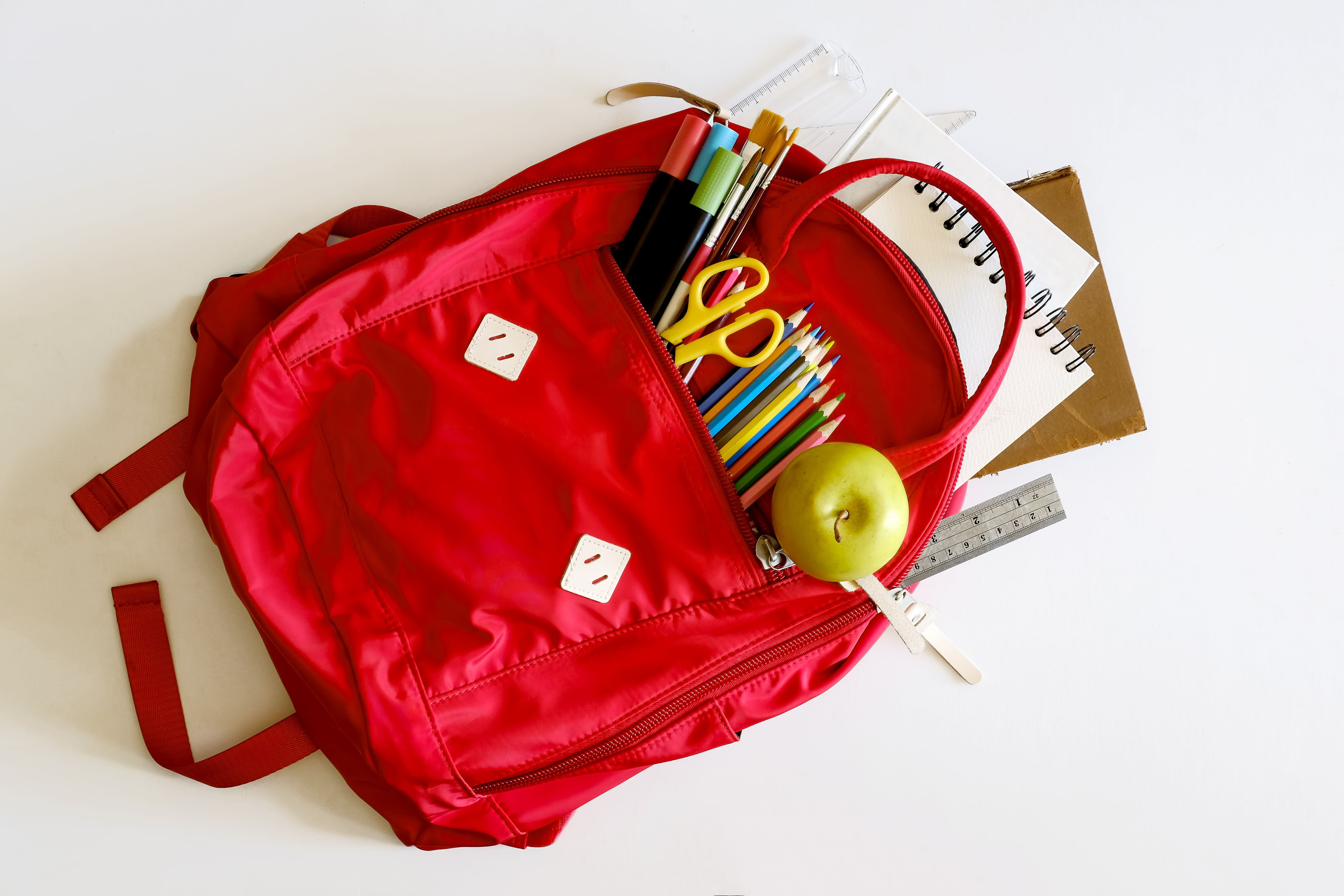 Backpack with school supplies spilling out