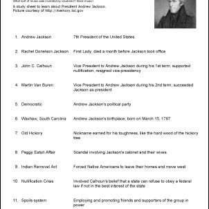 Andrew Jackson Vocabulary Study Sheet