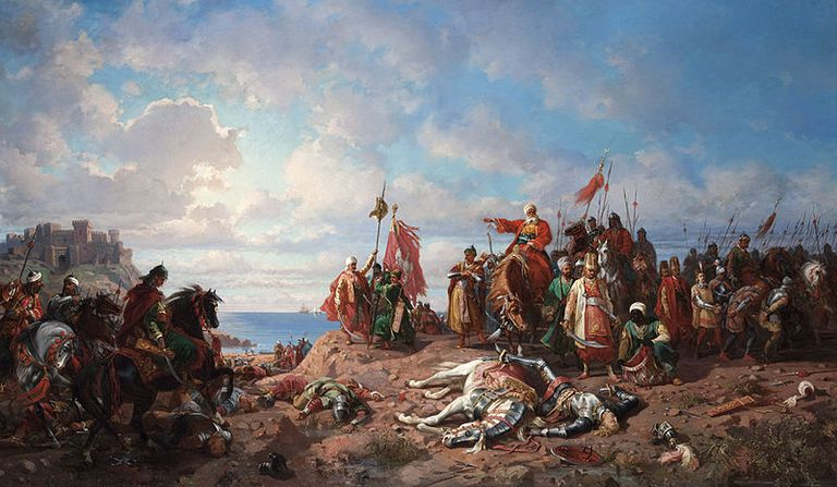 "Stanisław Chlebowski, ""The death of king Wladyslaw II at Varna"", oil on canvas"