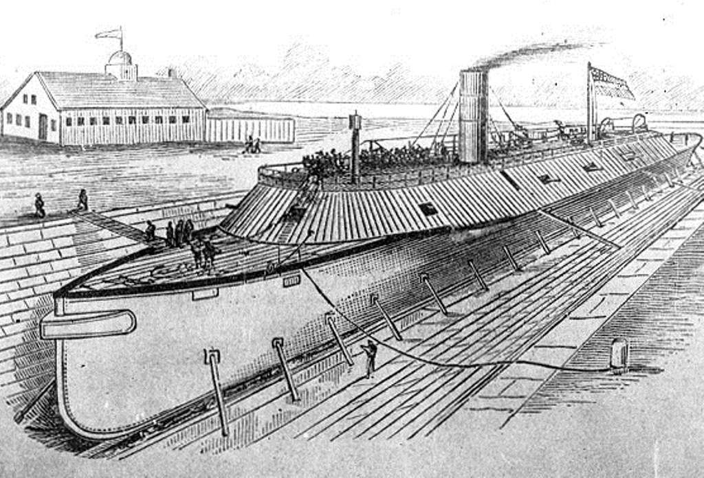 LIne drawing of CSS Virginia in dry dock.