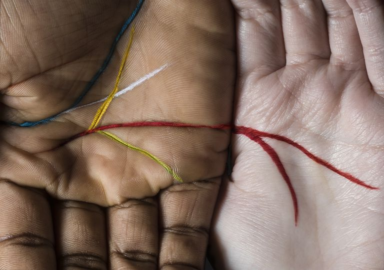 Two hands with main palmistry lines highlighted in colored paint