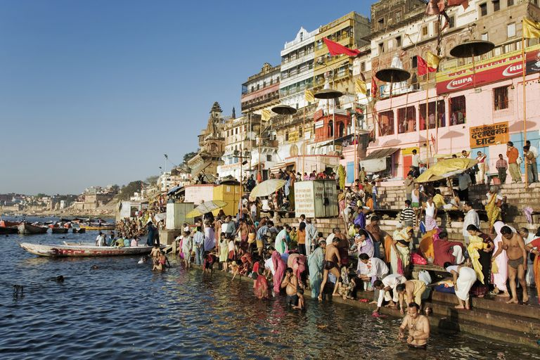 India, Varanasi, Ganges River, pilgrims on ghats