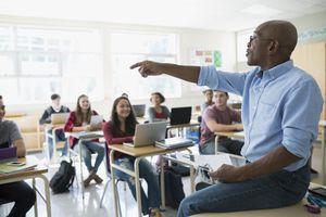 School teacher instructing a class