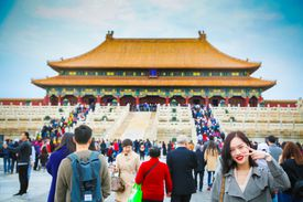 Tourist attraction in China with people.