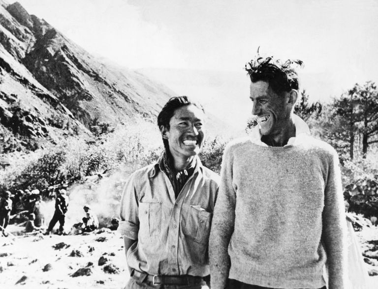 Tenzing Norgay and Edmund Hillary, black and white photograph.
