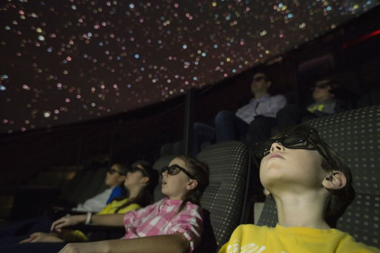 A picture of kids enjoying a field trip at a planetarium