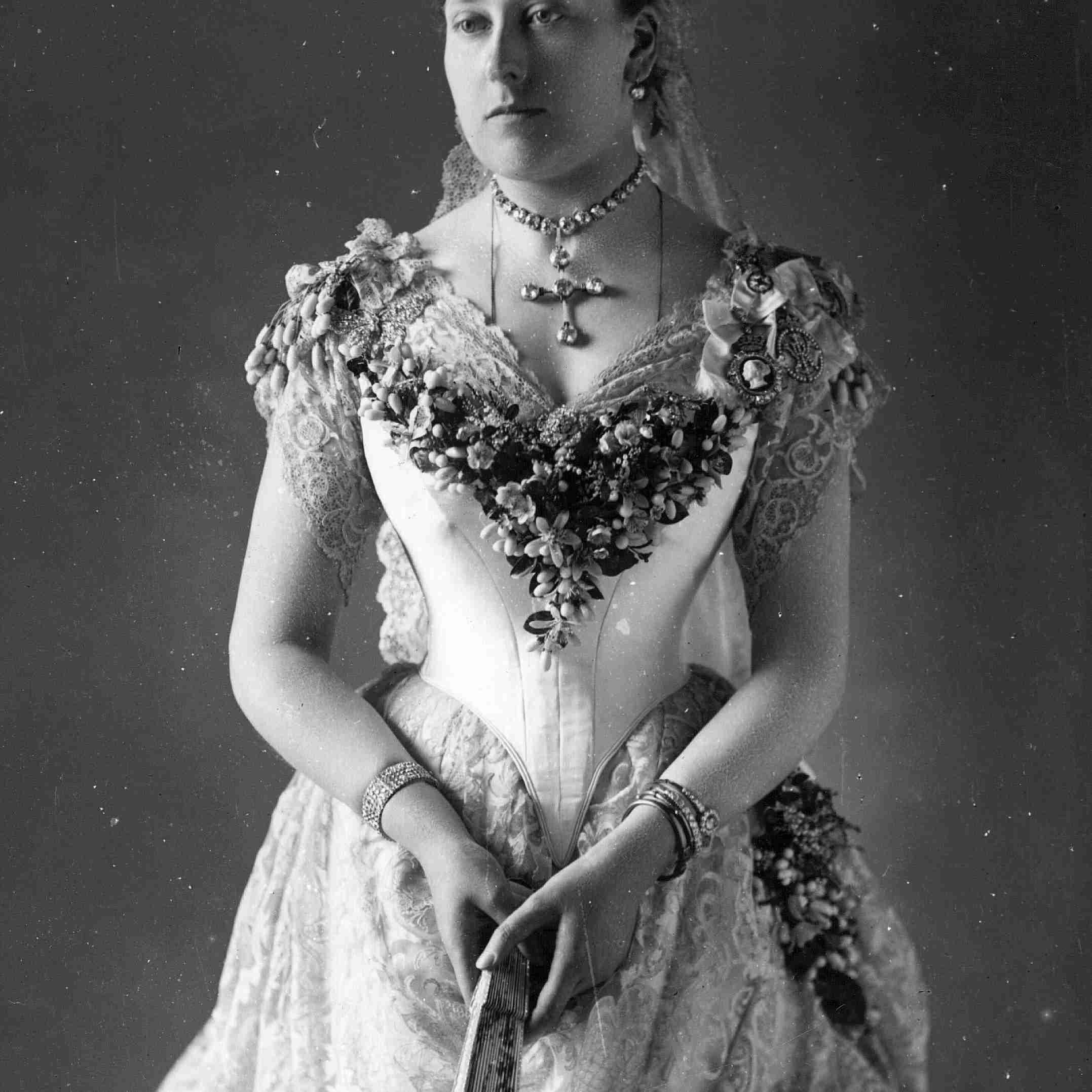 ビクトリア女王の末娘、ベアトリス王女、1885年のウェディングドレス。