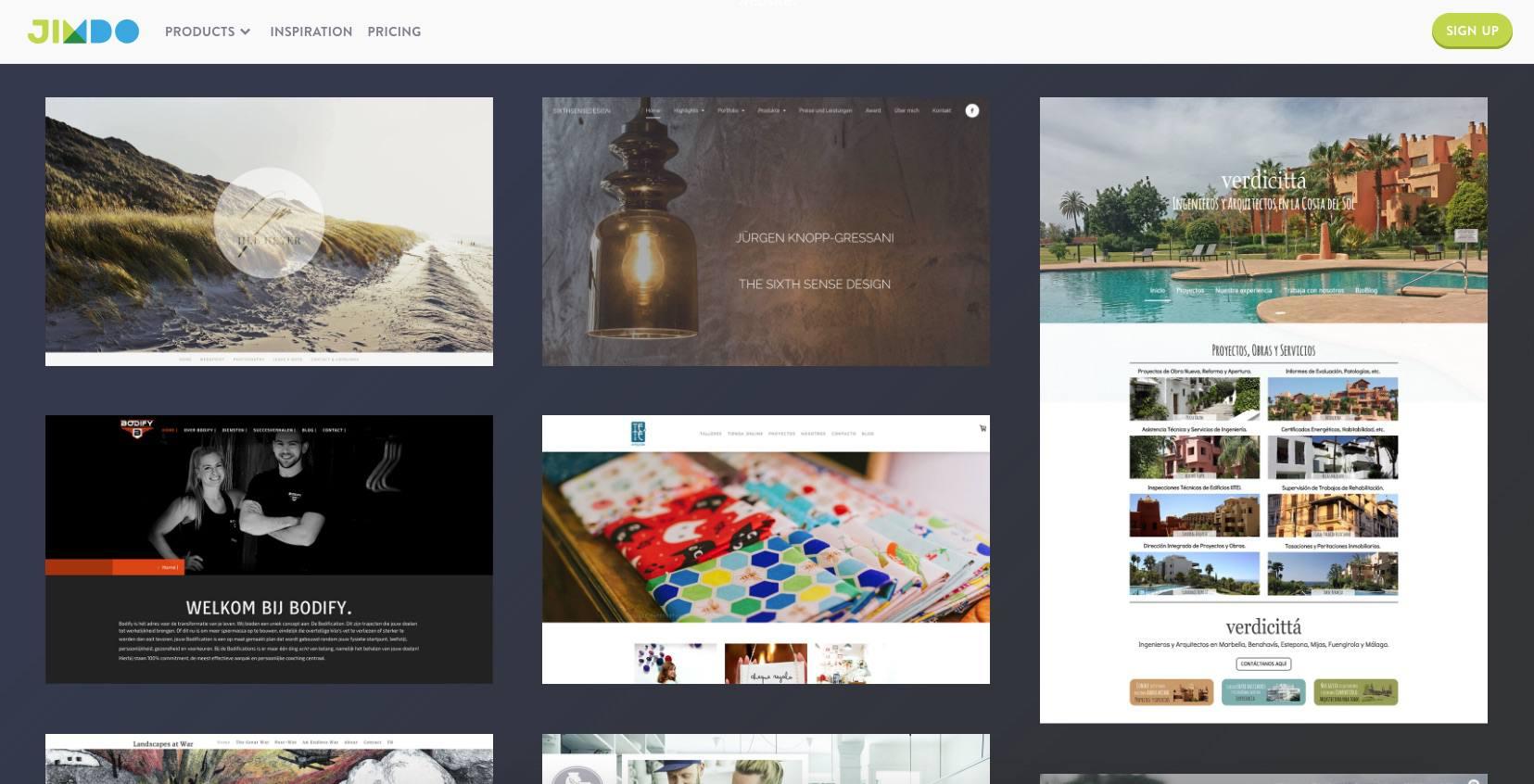 A screenshot of Jimdo.com.