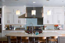 luxury kitchen with drop lighting