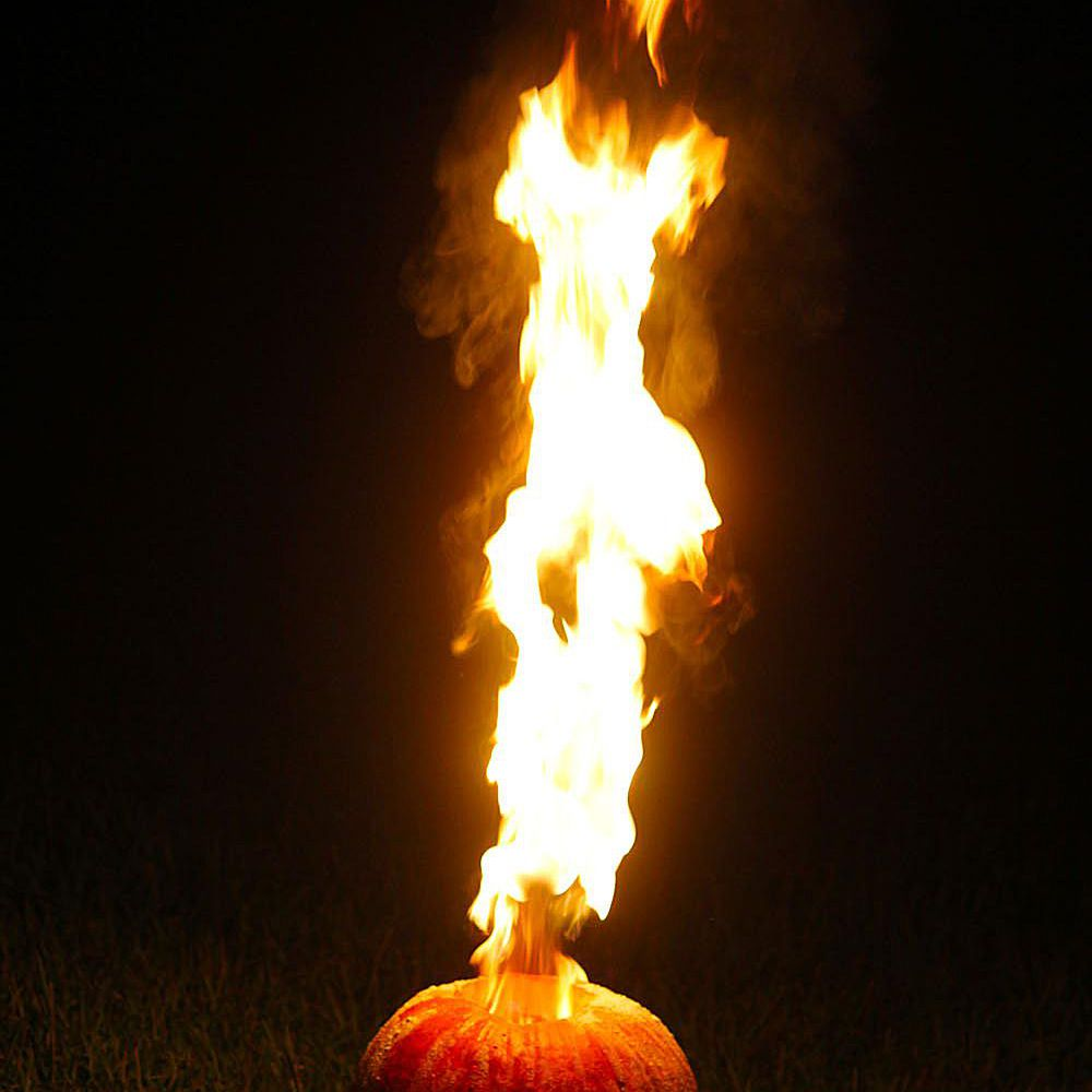 This jack o lantern shoots flames into the air like a flamethrower.