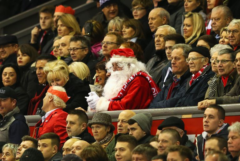 A fan dresses up as father Christmas