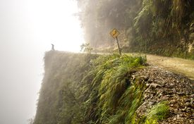 Bolivian road with dangerous drop-off