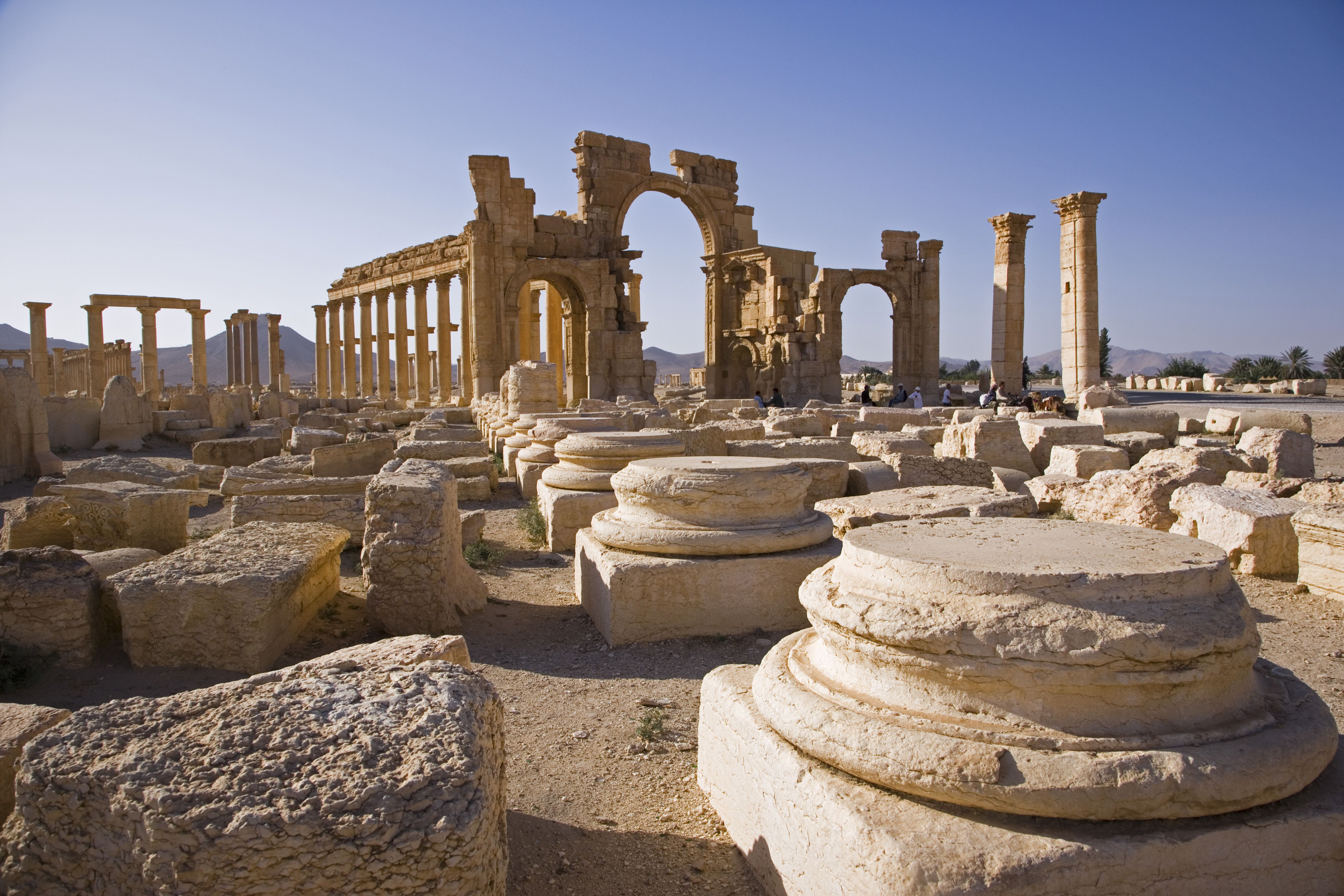 The spectacular ruined city of Palmyra, Syria. The city was at its height in the 3rd century AD but fell into decline when the Romans captured Queen Zenobia after she declared independence from Rome in 271.