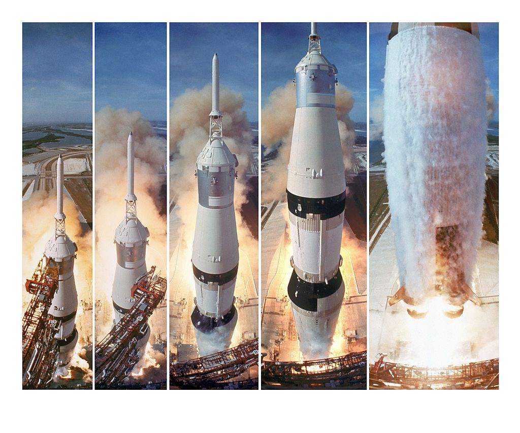 Saturn V boosters lift off to carry the Apollo 11