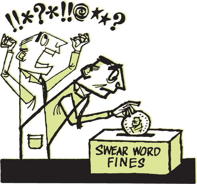 Cartoon illustration of someone paying a fine for using swear words