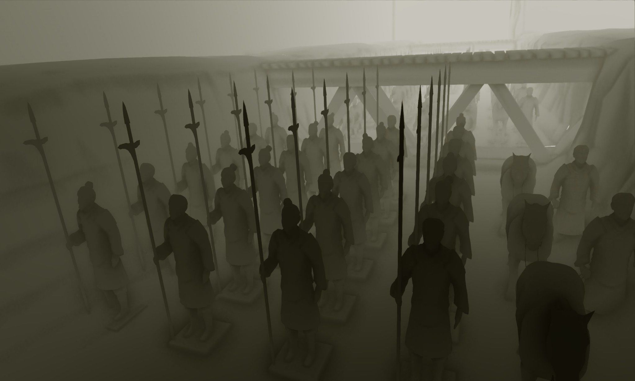Terracotta warriors holding spears.