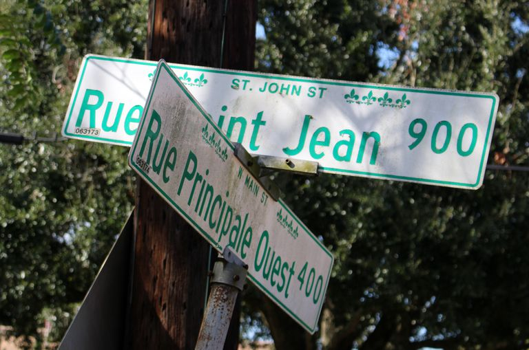 French language street signs, Lafayette, Louisiana
