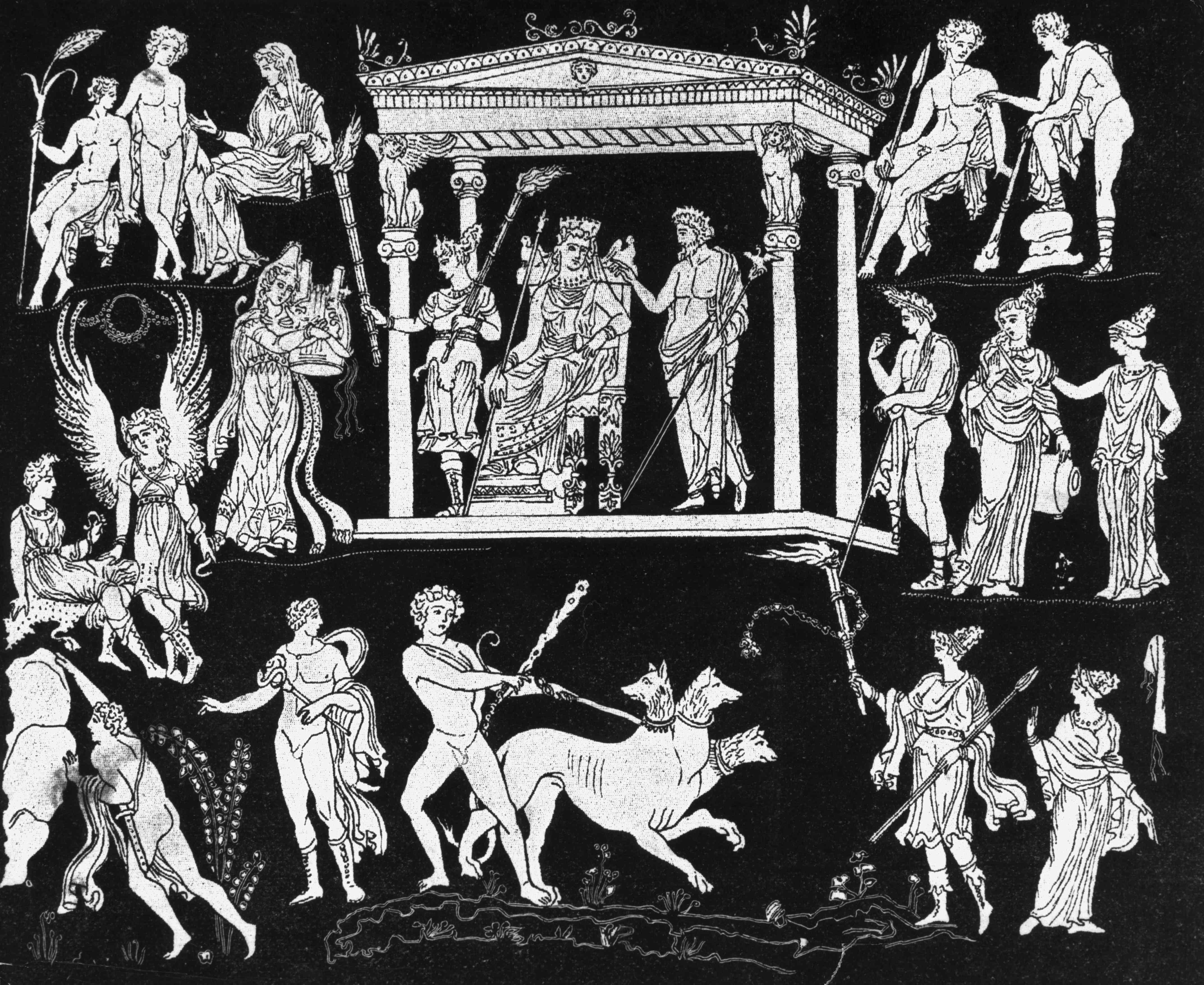 Orpheus tritt für Hades und Persephone auf