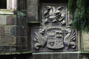 Coat of arms in the stone wall of a castle