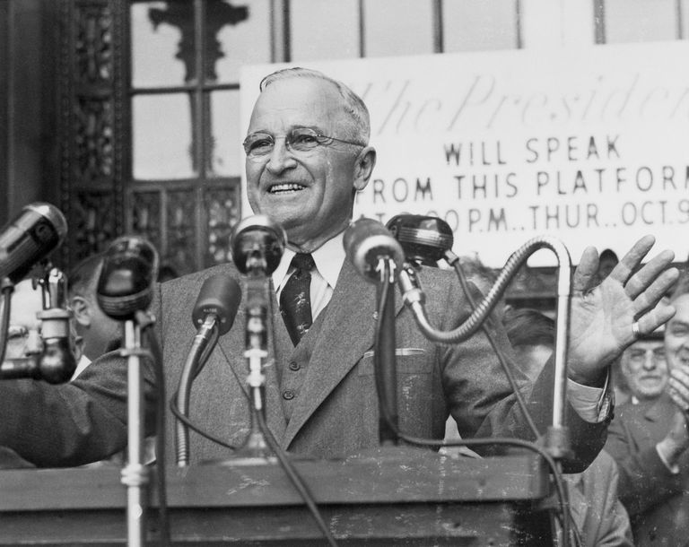 Truman Smiles Greeting Cleveland
