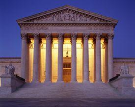 USA, Washington, D.C., US Supreme Court building at dusk