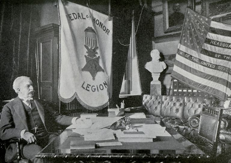Nelson A Miles, US Army general, at his headquarters, 1898.