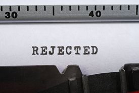 'Rejected' written with a typewriter